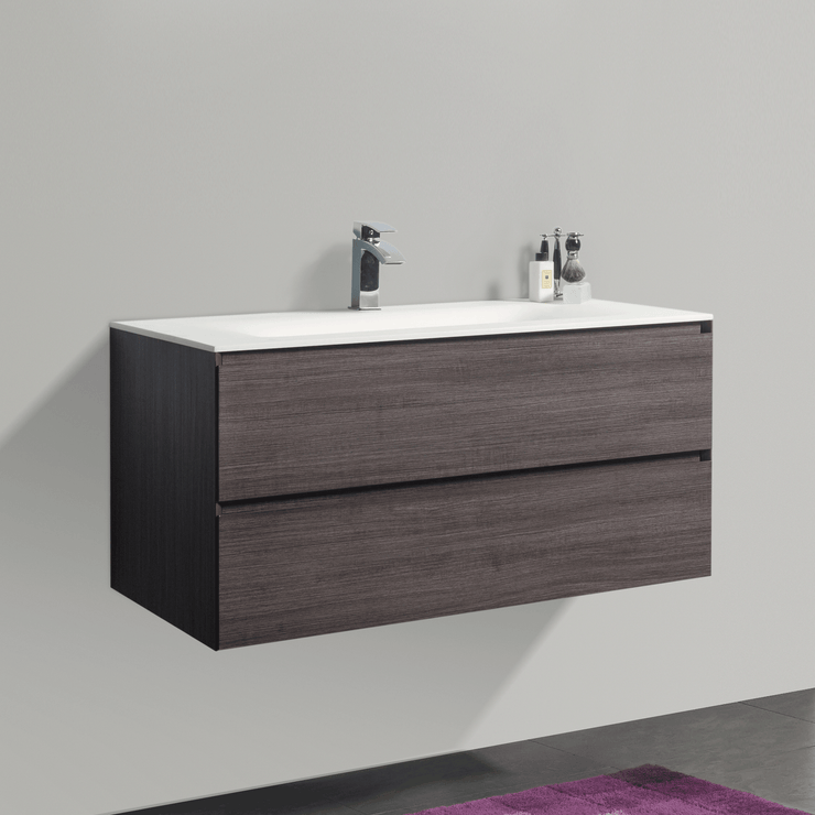 BAI 0816 Wall Hung 42-inch Bathroom Vanity in Graphite Wood Finish