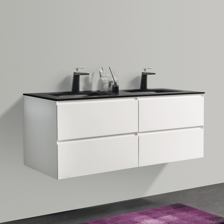 BAI 0819 Wall Hung 52-inch Bathroom Vanity in Matte White Finish