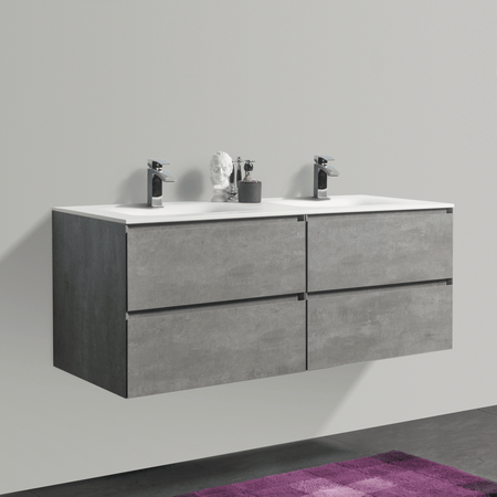 BAI 0820 Wall Hung 52-inch Bathroom Vanity in Stone Gray Finish