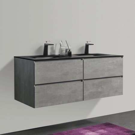 BAI 0821 Wall Hung 52-inch Bathroom Vanity in Stone Gray Finish
