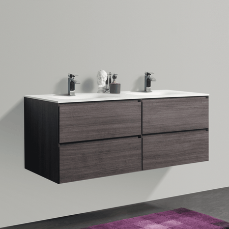 BAI 0822 Wall Hung 52-inch Bathroom Vanity in Graphite Wood Finish