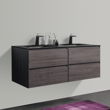 BAI 0823 Wall Hung 52-inch Bathroom Vanity in Graphite Wood Finish
