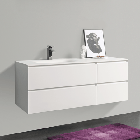 BAI 0824 Wall Hung 52-inch Bathroom Vanity in Matte White Finish