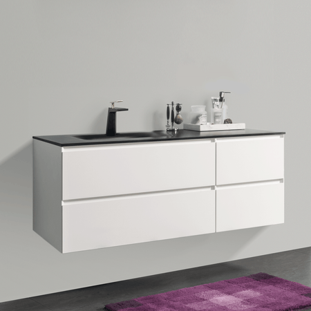 BAI 0825 Wall Hung 52-inch Bathroom Vanity in Matte White Finish