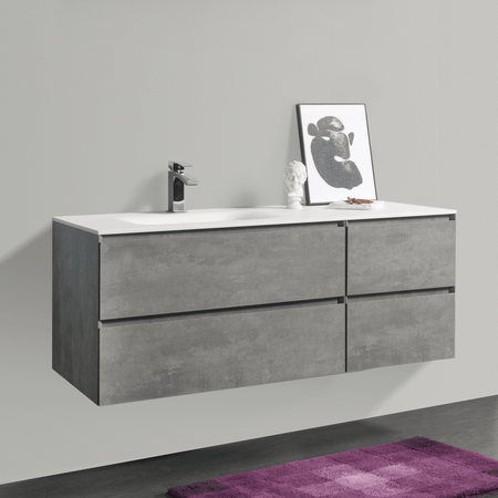 BAI 0826 Wall Hung 52-inch Bathroom Vanity in Stone Gray Finish