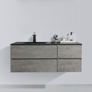 BAI 0827 Wall Hung 52-inch Bathroom Vanity in Stone Gray Finish