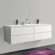 BAI 0830 Wall Hung 68-inch Bathroom Vanity in Matte White Finish