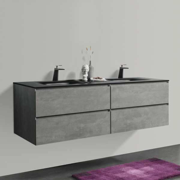 BAI 0833 Wall Hung 68-inch Bathroom Vanity in Stone Gray Finish