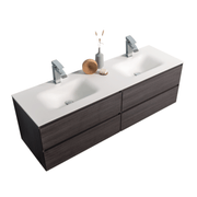 BAI 0834 Wall Hung 68-inch Bathroom Vanity in Graphite Wood Finish
