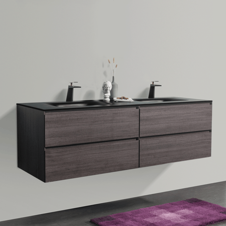 BAI 0835 Wall Hung 68-inch Bathroom Vanity in Graphite Wood Finish