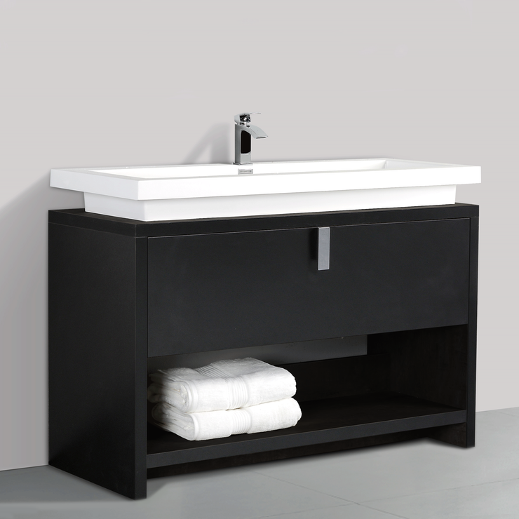 BAI 0858 Floor Standing 47-inch Bathroom Vanity Cabinet in Black Finish