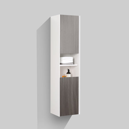 BAI 0881 Wall Hung Bathroom Side Cabinet / Reversible / Gloss White Body / Graphite Wood Doors / 16""