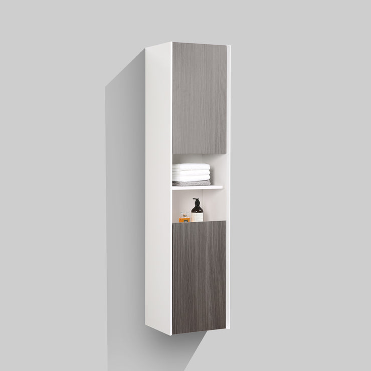 BAI 0881 Wall Hung Bathroom Side Cabinet / Reversible / Gloss White Body / Gray Oak Doors / 16""