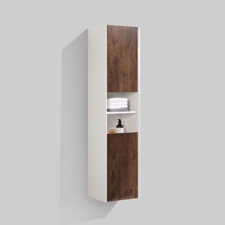 BAI 0882 Wall Hung Bathroom Side Cabinet / Reversible / Gloss White Body / Rose Wood Doors / 16""