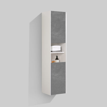 BAI 0883 Wall Hung Bathroom Side Cabinet / Reversible / Gloss White Body / Stone Gray Doors / 16""