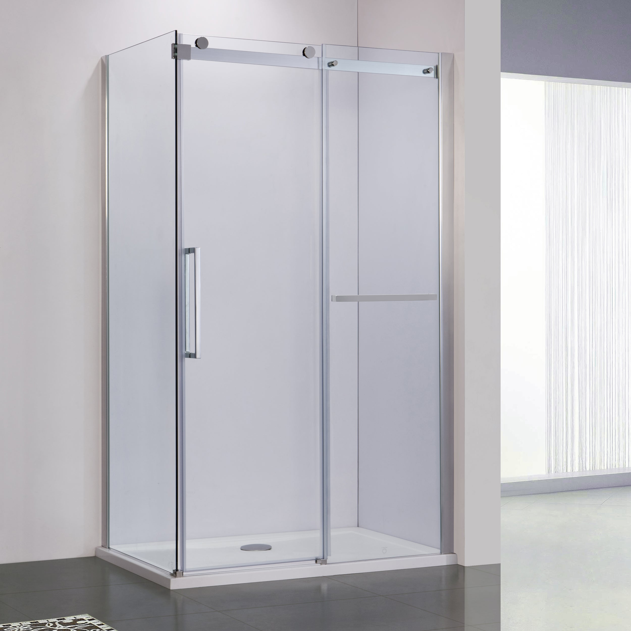 BAI 0924 Frameless Sliding Glass Shower Enclosure With Side Panel ...