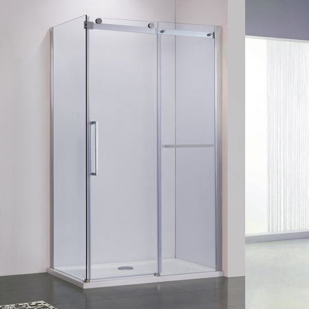 BAI 0924 Frameless  Sliding Glass Shower Enclosure With Side Panel / Corner / 60""