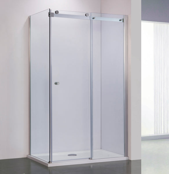 BAI 0925 Frameless 72-inch Sliding Glass Shower Enclosure with Corner Side Panel