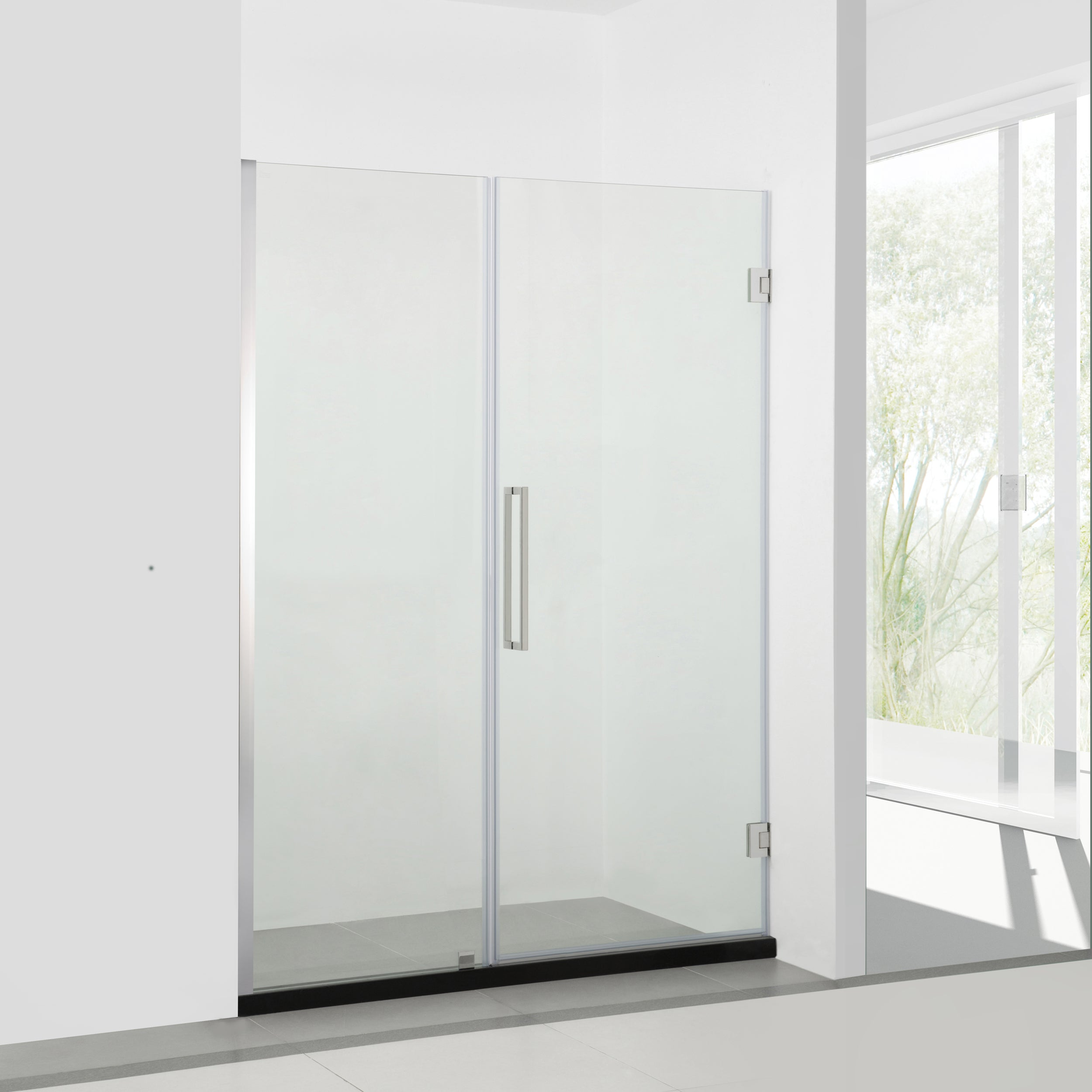 BAI 0926 Frameless Glass Shower Enclosure With Fixed Panel and Swing / French Door - 48 & Glass Shower Enclosures \u2013 MegaBAI