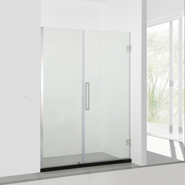 BAI 0926 Frameless 48-inch Glass Shower Enclosure with Fixed Panel and Swinging French Door