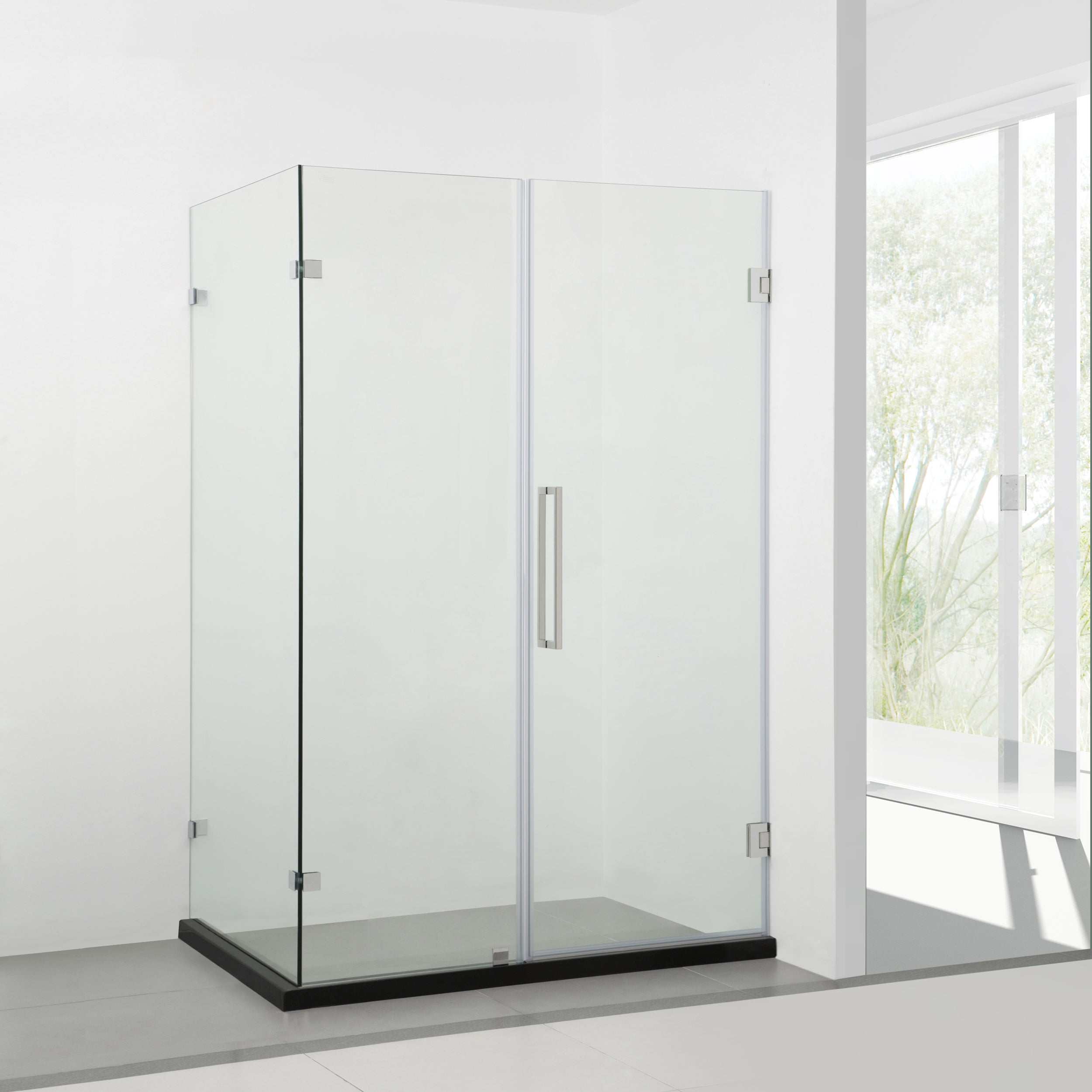 BAI 0929 Frameless Glass Shower Enclosure / Reversible Side Panel ...