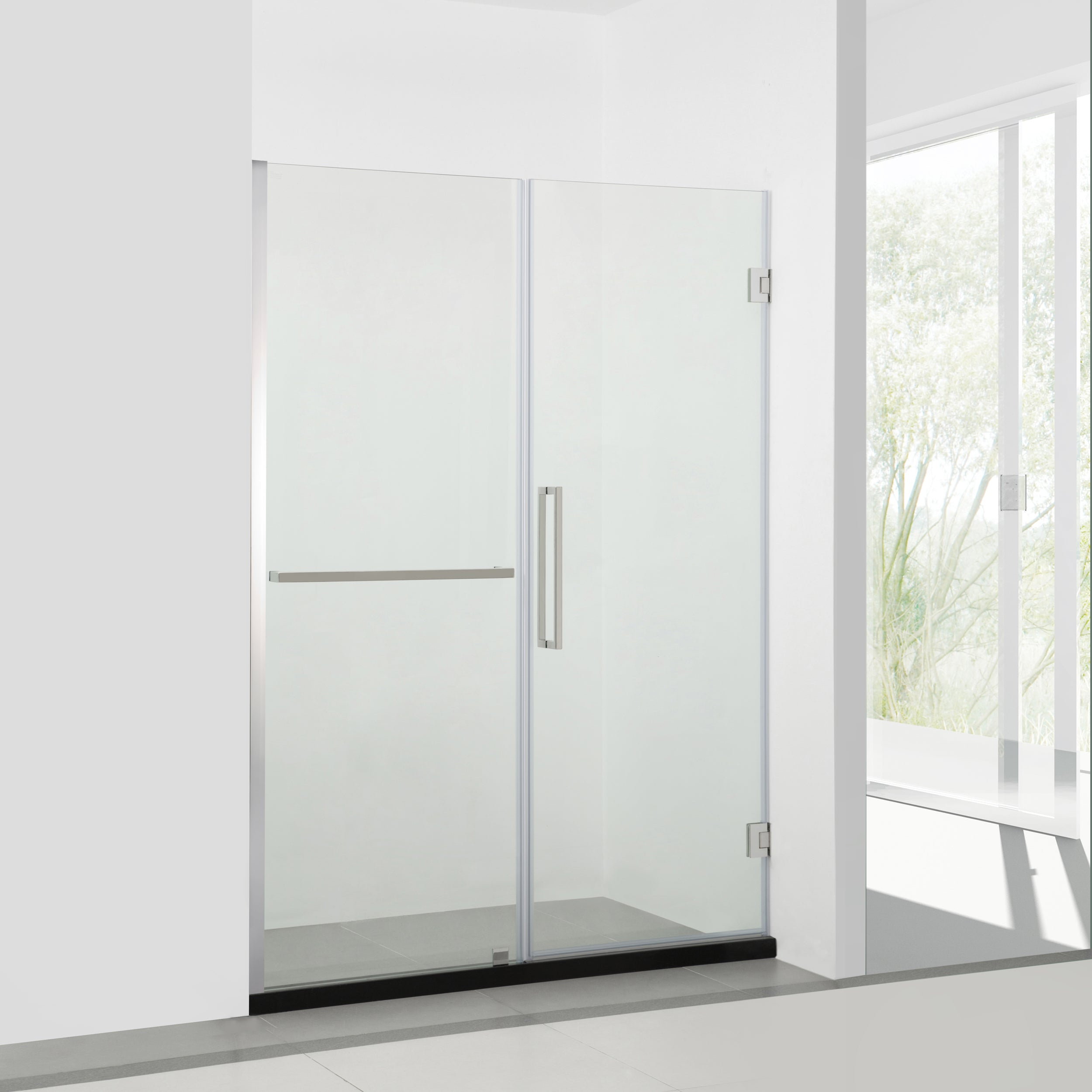 Bai 0927 Frameless 60 Inch Glass Shower Enclosure With Fixed