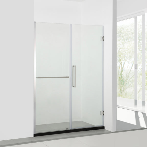BAI 0927 Frameless 60-inch Glass Shower Enclosure with Fixed Panel and Swinging French Door