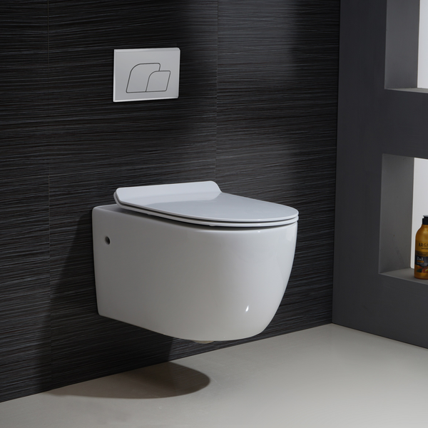 BAI 1016 Contemporary Wall Hung Toilet & Carrier Tank – Dual Flush with Soft-Close Seat