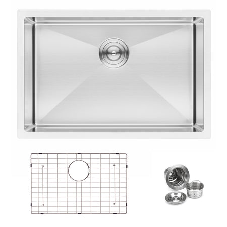 BAI 1221 Handmade 27-inch Undermount Single Bowl 16 Gauge Stainless Steel Kitchen Sink
