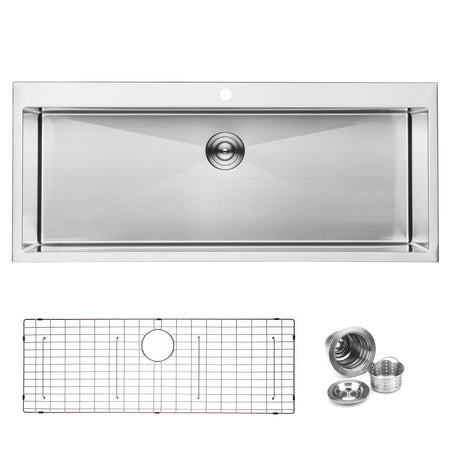 BAI 1223 Handmade 48-inch Top Mount Single Bowl 16 Gauge Stainless Steel Kitchen Sink