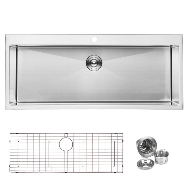 BAI 1223 Stainless Steel 16 Gauge Kitchen Sink Handmade 48-inch Top Mount Single Bowl