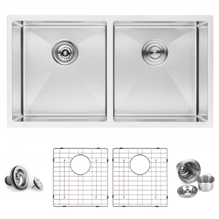 BAI 1225 Stainless Steel 16 Gauge Kitchen Sink Handmade 33-inch Undermount Double Bowl
