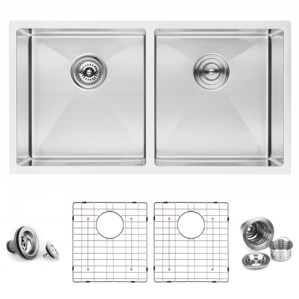 "BAI 1225 - 33"" Handmade Stainless Steel Kitchen Sink Double Bowl Undermount 16 Gauge"