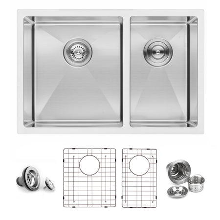 BAI 1227 Stainless Steel 16 Gauge Kitchen Sink Handmade 27-inch Undermount Double Bowl