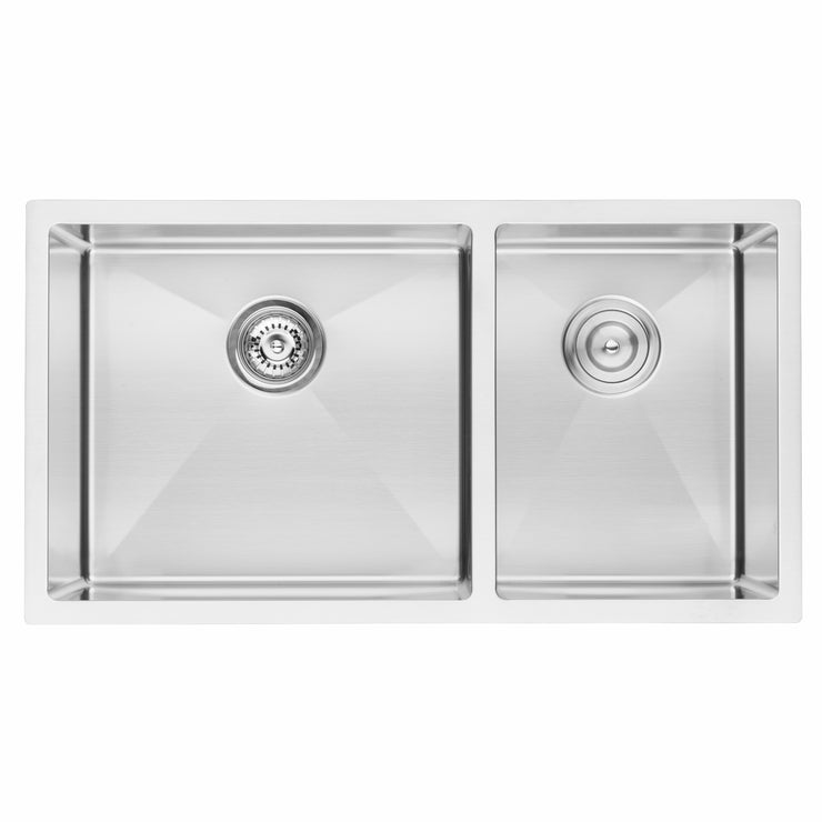 "BAI 1228 - 33"" Handmade Stainless Steel Kitchen Sink Double Bowl Undermount 16 Gauge"