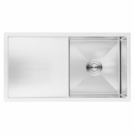 BAI 1230 Handmade 33-inch Undermount Single Bowl with Drainboard 16 Gauge Stainless Steel Kitchen Sink