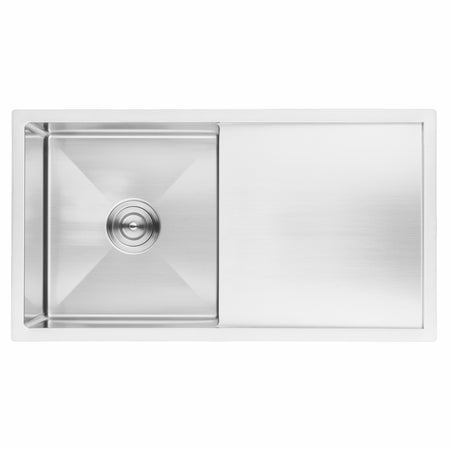 BAI 1231 Stainless Steel 16 Gauge Kitchen Sink Handmade 33-inch Undermount Single Bowl with Drainboard