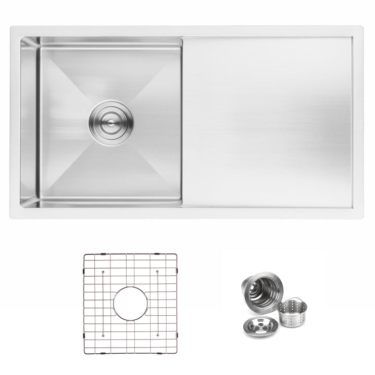 "BAI 1231 - 33"" Handmade Stainless Steel Kitchen Sink Single Bowl With Drainboard Undermount 16 Gauge"