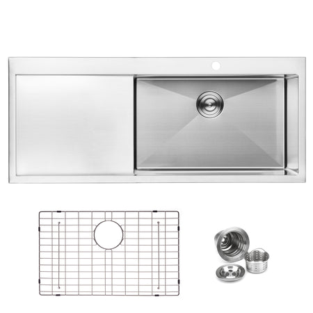 BAI 1232 Handmade 48-inch Top Mount Single Bowl with Drainboard 16 Gauge Stainless Steel Kitchen Sink