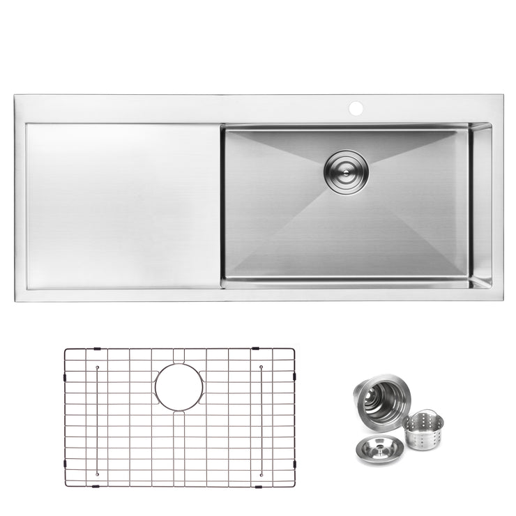 "BAI 1232 - 48"" Handmade Stainless Steel Kitchen Sink Single Bowl With Drainboard Top Mount 16 Gauge"