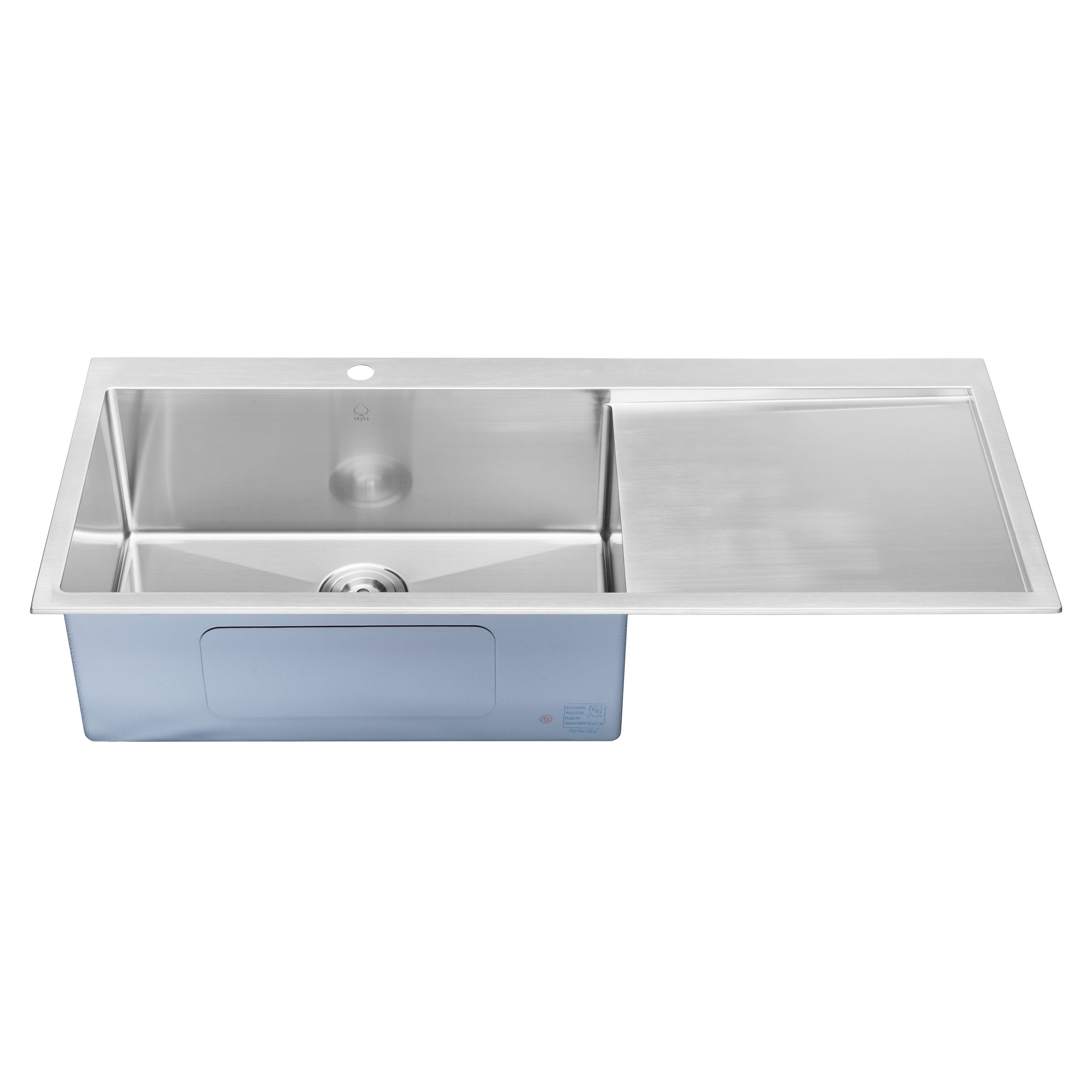 Bai 1233 Handmade 48 Inch Top Mount Single Bowl With Drainboard 16 Gauge Stainless Steel Kitchen Sink Megabai