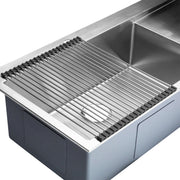 "BAI 1233 - 48"" Handmade Stainless Steel Kitchen Sink Single Bowl With Drainboard Top Mount 16 Gauge"