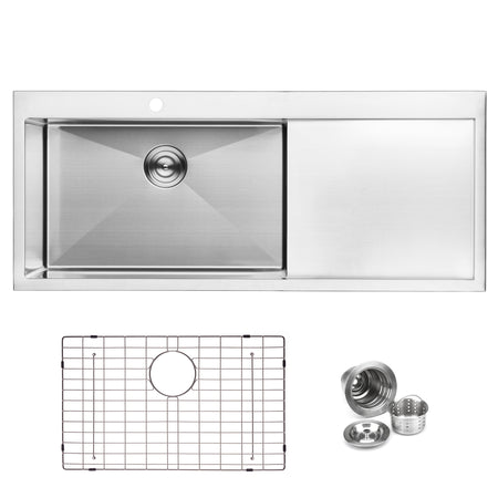 BAI 1233 Handmade 48-inch Top Mount Single Bowl with Drainboard 16 Gauge Stainless Steel Kitchen Sink