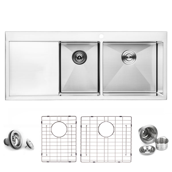 BAI 1234 Stainless Steel 16 Gauge Kitchen Sink Handmade 48-inch Top Mount Double Bowl with Drainboard