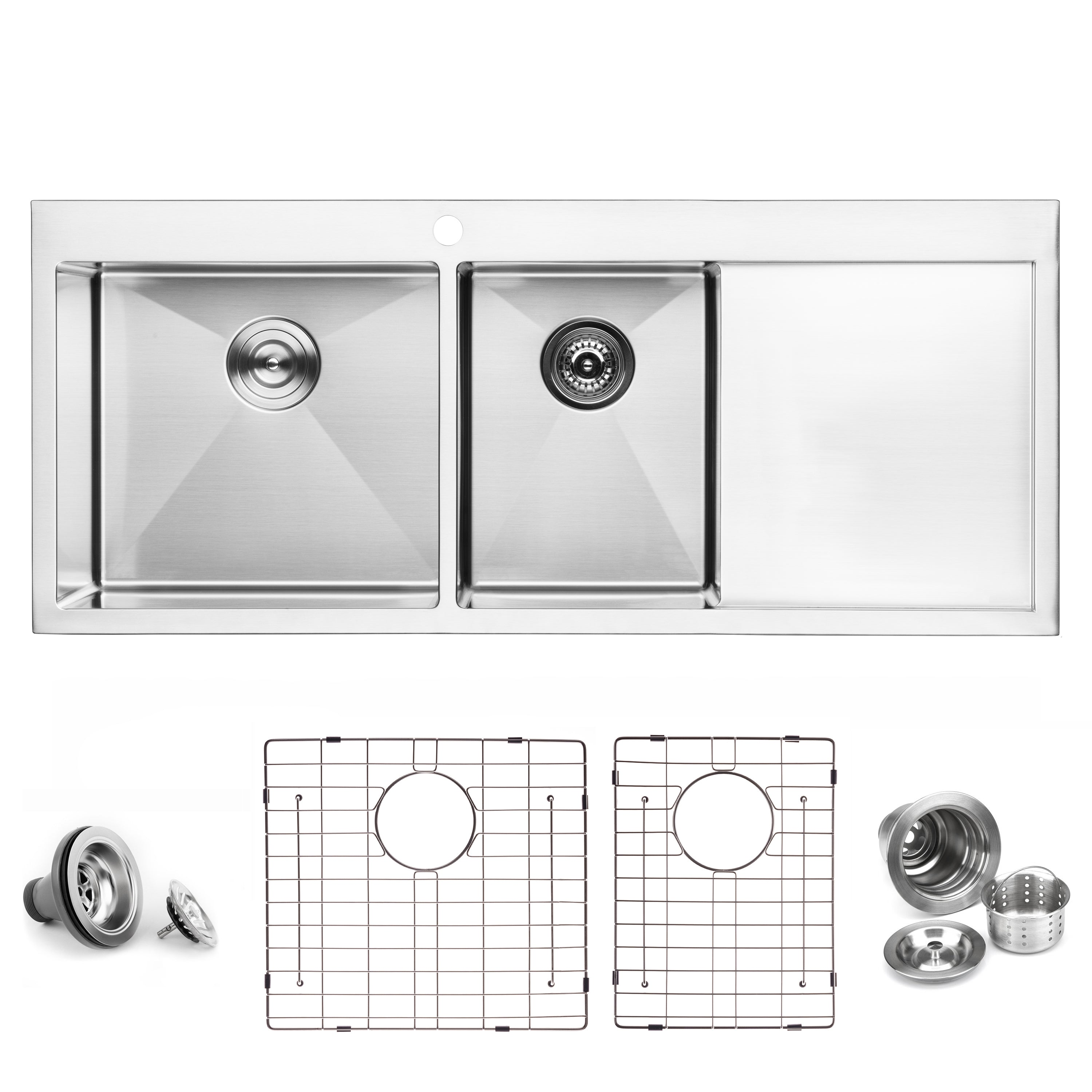 Bai 1235 Handmade 48 Inch Top Mount Double Bowl With Drainboard 16 Gauge Stainless Steel Kitchen Sink Megabai