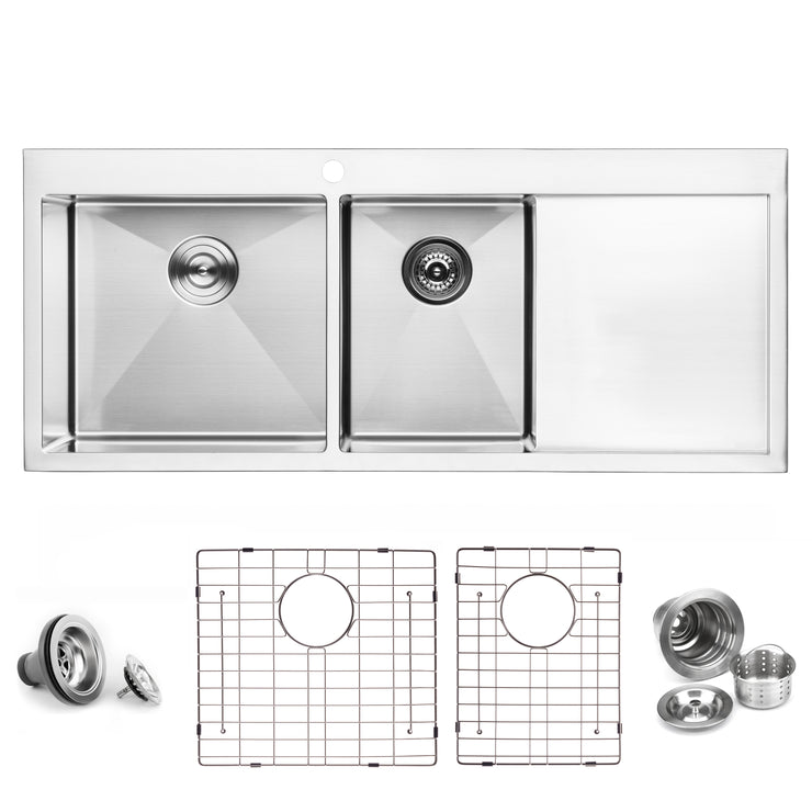 BAI 1235 Stainless Steel 16 Gauge Kitchen Sink Handmade 48-inch Top Mount Double Bowl with Drainboard