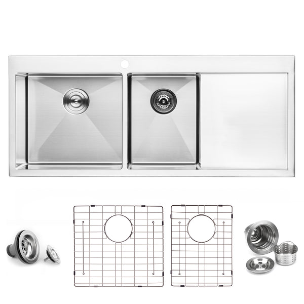 "BAI 1235 - 48"" Handmade Stainless Steel Kitchen Sink Double Bowl With Drainboard Top Mount 16 Gauge"