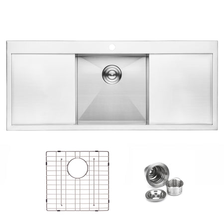BAI 1237 Handmade 48-inch Top Mount Single Bowl with 2 Drainboards 16 Gauge Stainless Steel Kitchen Sink