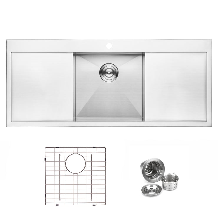 "BAI 1237 - 48"" Handmade Stainless Steel Kitchen Sink Single Bowl With Two Drainboards Top Mount 16 Gauge"