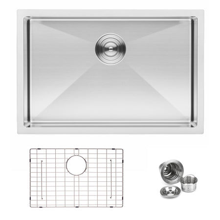 BAI 1247 Handmade 27-inch Undermount Shallow Single Bowl 16 Gauge Stainless Steel Kitchen Sink